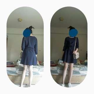 近全新 / 很有氣質的深藍格紋粉紅虛線格子洋裝 附腰帶連身裙 腰間鬆緊