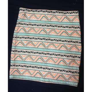 Bershka Aztec Pencil Skirt