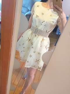Fairy golden star organza one piece size M 夢幻仙氣金星歐根紗連身裙