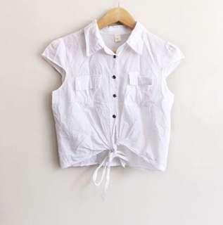 Pretty white tie-front cotton blouse
