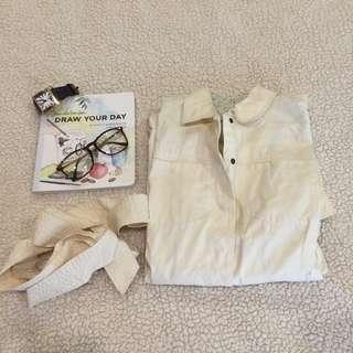 Cream Japanese inspired shirtdress