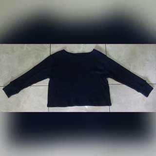 3/4 sleeves navy blue crop top