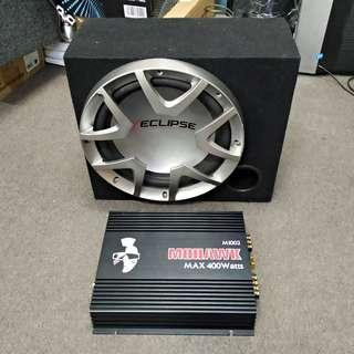 "12"" ECLIPSE Sub Woofer and MOHAWK amplifier(400 Watt) set for sale"