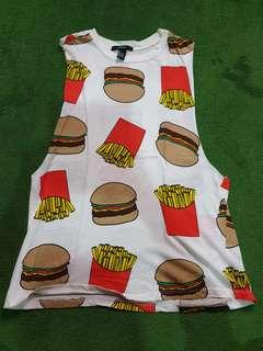 Forever 21 Burger and Fries Muscle Shirt