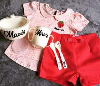 Customize Names -  Clothes and Feeding Set