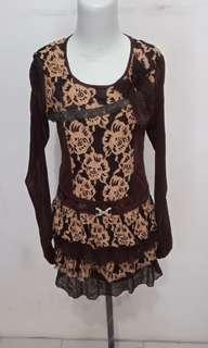 Dress coklat brokat