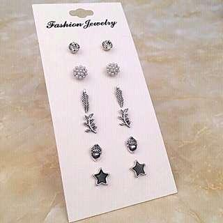 Earrings Set (6pairs/set) (Silver set)