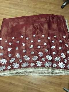 Saree red and beige chiffon and silk mix brand new