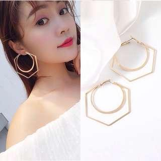 Geometric Double Hollow Earrings
