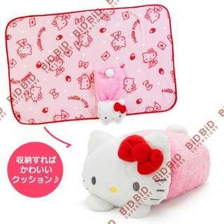 Hello Kitty 3way 公仔 攬枕 毛毯 披肩 收納後變 抱枕 靠墊 拆開可做 披肩 毛毯 膝蓋毯 保暖毯 SANRIO