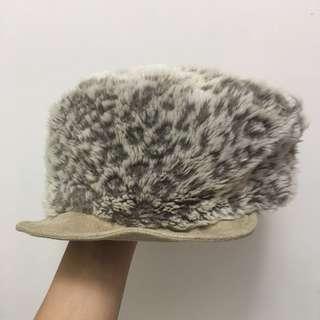 日本灰白色豹紋毛毛帽