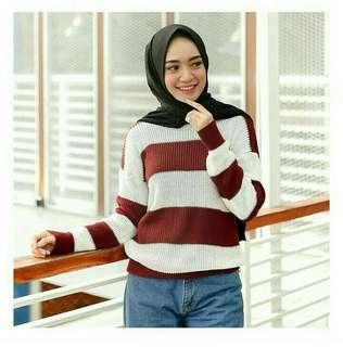 🎆Big Stripe Sweater Maroon