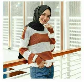 🎆Big Stripe Sweater Coral