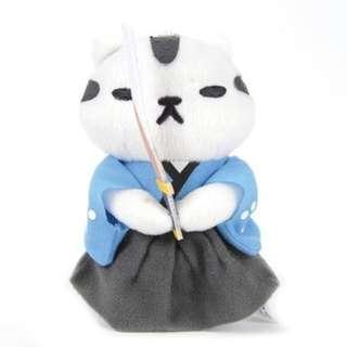 Neko Atsume Plush Keychain - Samurai Cat