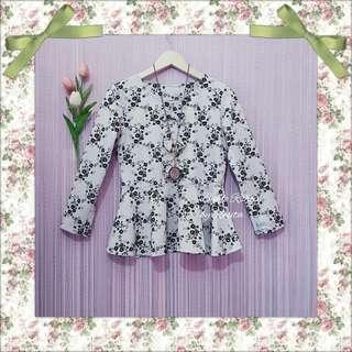Peplum Emboss Flowery Floral Broken White Blouse Top Atasan Wanita