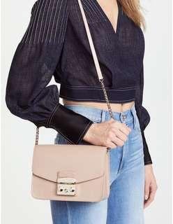 ♥️實圖FURLA SMALL METROPOLIS CROSSBODY CHAIN BAG Genuine leather真皮牛皮鍊條包