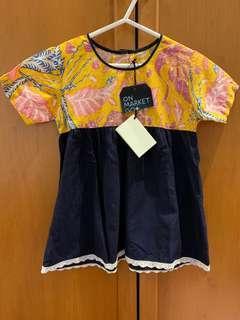 Miruku Yellow handprinted batik/ navy blue dress