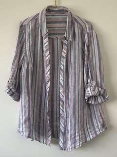 Rainbow Striped Linen Shirt