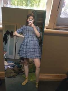 Gingham dress with inbuilt shorts