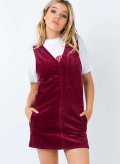Afends Maroon Corduroy Dress
