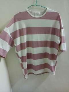 🚚 粉紅條紋五分袖