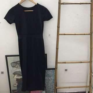 #H&M50 Black Mesh Midi Dress