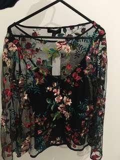 Forever New Black floral blouse