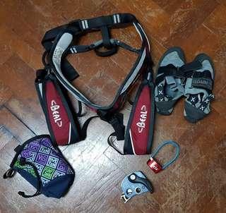 Women's climb kit - harness, grigri, belay, UK3 shoes, chalk bag