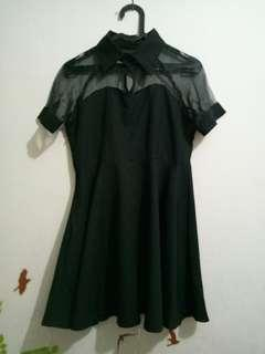 Coral black dress