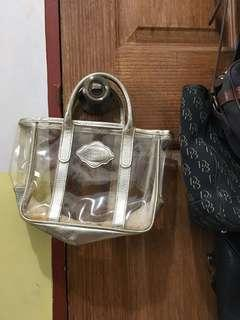 Victoria's Secret transparent gold handbag