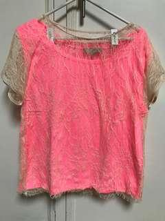 Hot Pink Color Tank Shirt with Lace Overlay