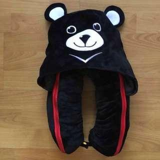 BN 🐻2-in-1 Black Teddy Bear Portable Travel Size Head/ Neck Pillow/ Support/ Cushion Rest + Red Blanket Cover🐻