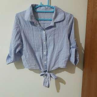 淺藍 隱約格紋綁帶襯衫上衣
