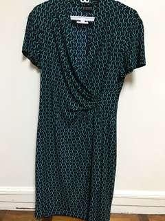 Imported overrun jersey faux wrap dress