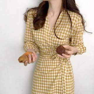 Mustard Checkered Dress
