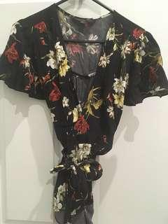 Forever New black floral wrap blouse