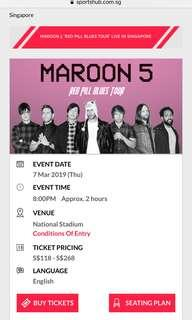 Maroon 5 Red Pills Blues SG Tour