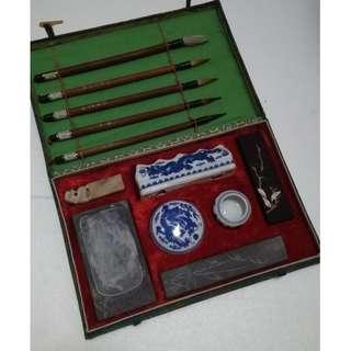 Vintage Chinese Caligraphy Set