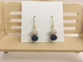🚚 【大出清】扁珠耳環(藍)