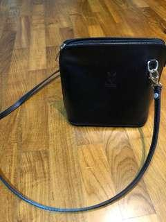 Genuine leather small black crossbody bag