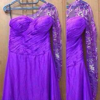 One Shoulder Party Long Dress/Gown/Gaun Pesta.