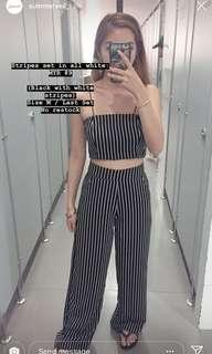 Black and white stripes culottes