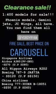 Clearance sale. Phoenix models, Gemini jets, JC Wings. 1:400 airplane models for sale!