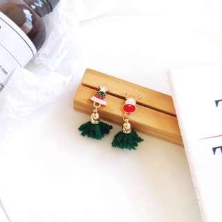 🦄🎅🏻 xmas special: rudolph & tree green tassle kr earrings
