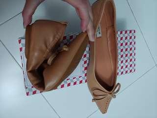 BNIB Tan Soft Ribbon Flats