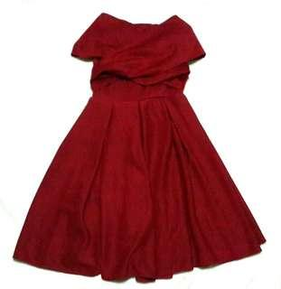 FREE SHIPPING! Red Off-Shoulder Dress