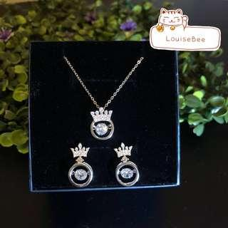 S925 Crown Zicron Beating Necklace and Earrings sets