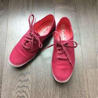 Keds Red Champion Sneaker with Polka Dot Lace