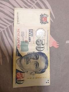 1HL029441 Singapore $50 note