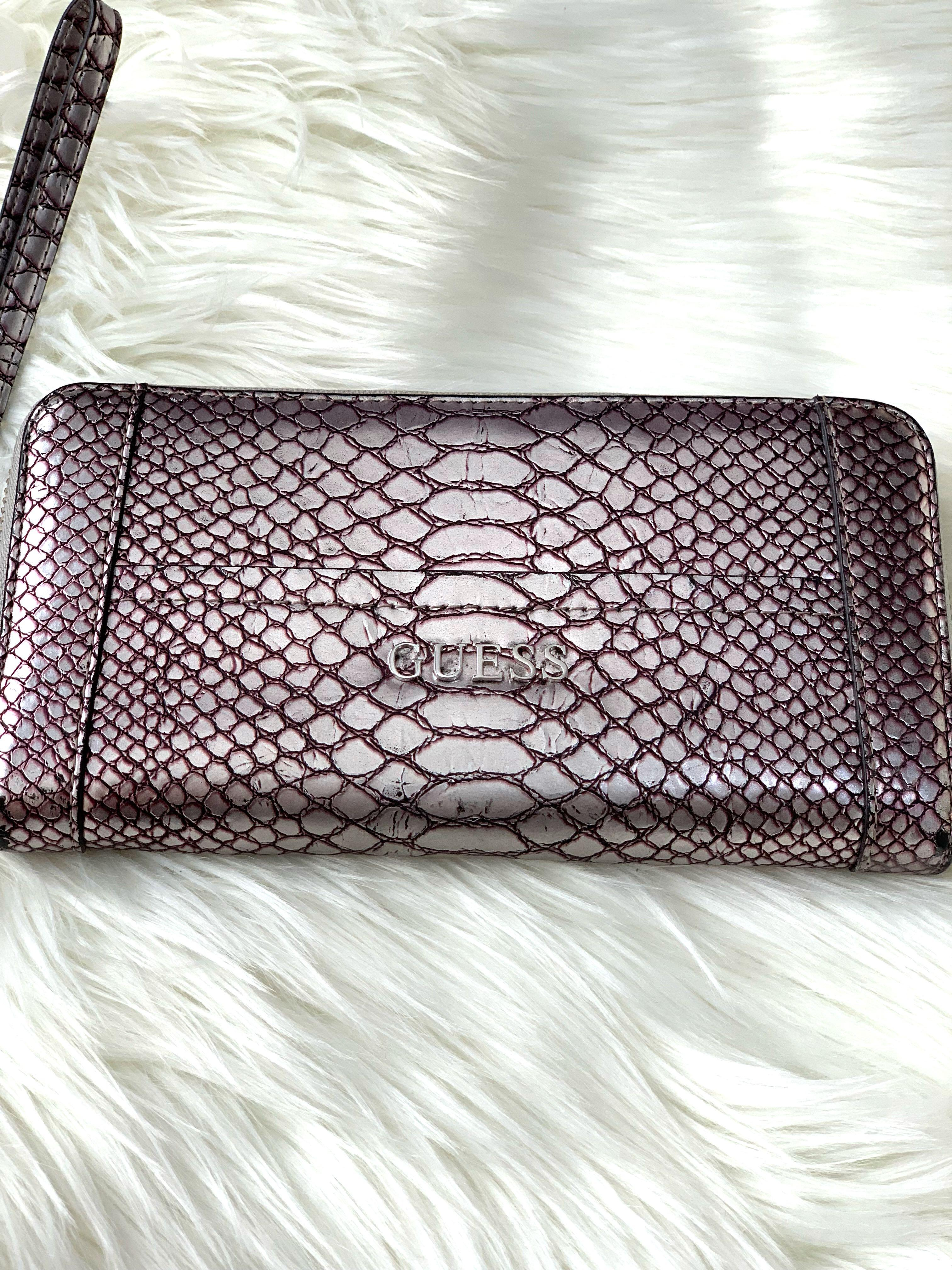 Authentic GUESS Wallet Purse Faux Alligator Croc Style Purple Taupe Silver